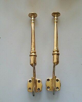 2 matching Large  Decorative Antique Heavy Brass coat hat hooks