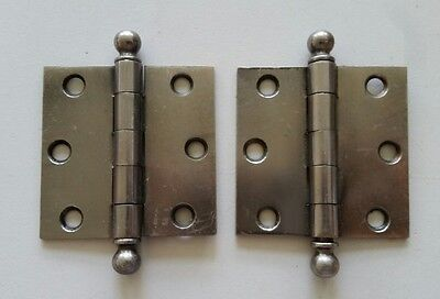 "Pr vintage steel hinges slight traces of old Brass plating 2 1/2 X 2 1/2"" (350A)"