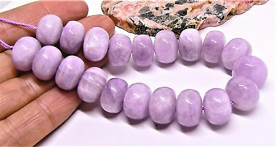 "AAA NATURAL PINK AFGHAN KUNZITE CATS EYE RONDELLE BEADS 7.75"" STRAND 358cts 14mm"