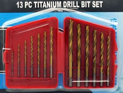 "13pc Titanium Drill Bit Set Multi Bits High Speed Steel 1/16"" to 11/64"" NEW"