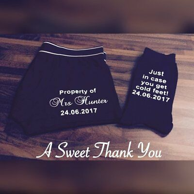 Personalised Groom Boxers Shorts and socks! Groom Gift Set! Wedding day Gifts