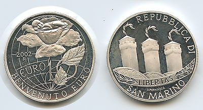 G1504 - San Marino 10 Euro 2002 KM#449 Welcome Euro PROOF Silber
