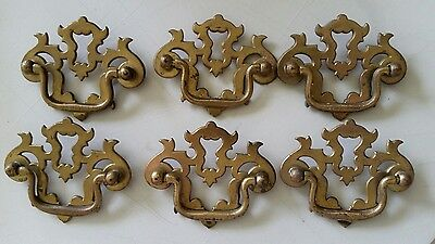 "6 Matching Old Vintage  Metal  Drawer Handles Pulls 2 1/2"" Ctr To Ctr (363)"