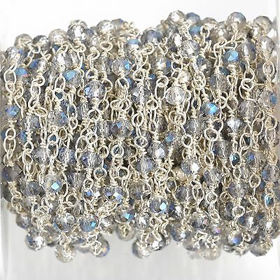 3ft Mystic Blue AB Crystal Rondelle Rosary Chain, silver double 4mm fch0642a