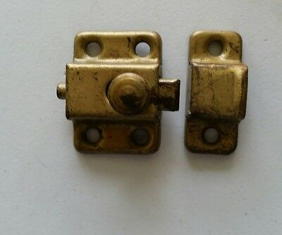 Small Old Vintage Metal Cabinet Latch With Catch (370)