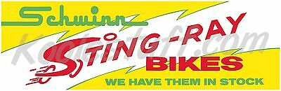 Schwinn Bicycle  STING-RAY BIKES Window Banner / Poster - SCHWINN APPROVED