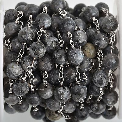 3ft Grey LABRADORITE GEMSTONE Rosary Chain, silver links, 8mm round fch0742a
