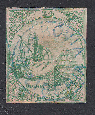 Liberia # 3 USED 1860 24 Cent Green W/ Cockrill CP.1 Monrovia in BLUE
