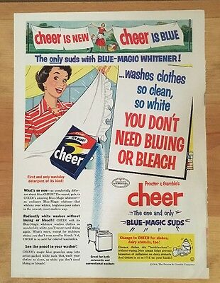 Vintage 1954 CHEER Laundry Soap Detergent Housewife Color Print Advertising