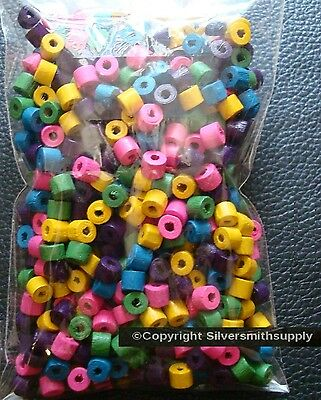"500 4mm Wood rondell Beads assorted colors 1mm hole 60"" when strung WB011A"