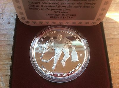 1993 Canada 92.5% Silver Proof Dollar Coin 100th anniversary of the Stanley Cup