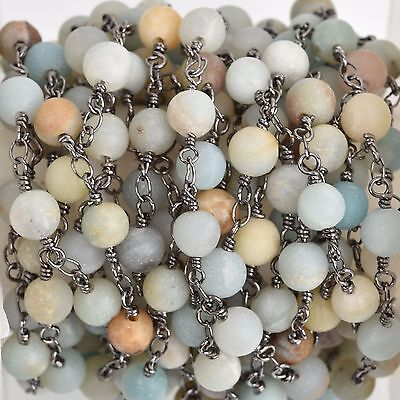 3ft MATTE AMAZONITE GEMSTONE Rosary Chain, gunmetal, 6mm round beads, fch0743a