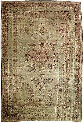 "Distressed antique Persian Kerman Lavar. 8'7""x 12'7"""