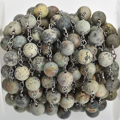 13ft Matte Green AFRICAN TURQUOISE Gemstone Rosary Chain, gunmetal 8mm fch0747b