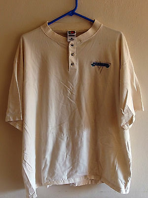 Van Halen RARE Vintage Embroidered Classic Logo Beige Button Collar Golf T XL