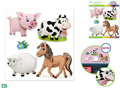 Farm Animals Wall Stickers 5pc W Glitter Nursery Decor