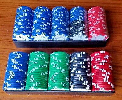 Poker Chips 200 Count 8 Gram Clay 4 colors Bicycle Brand Tournament Quality
