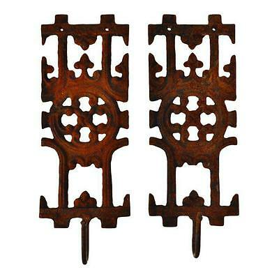 Pair of Asian Inspired Architectural Cast Iron Decorative Wall Art Coat Hat Hook