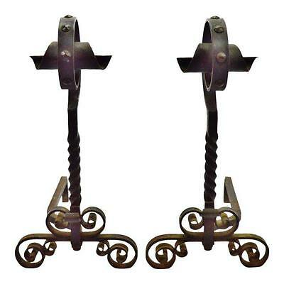 "Early Wrought Iron Andirons, Fire Dogs - Large 28"" Tall"