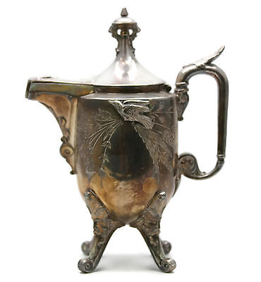 Antique Aesthetic Period Movement Silverplated Coffee Tea Pot Reed Barton Birds