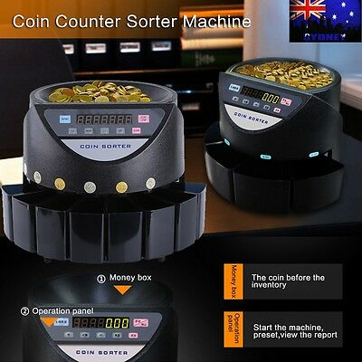 Automatic Australian Money Cash Coins Counter Sorter Machine Electronic Display