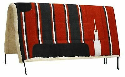"""SHOWMAN 30""""x30"""" RED Navajo Saddle Pad W/ Kodel Fleece and Suede Wear Leathers!"""
