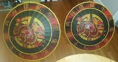 Pair of Vintage wooden Rice Paper Umbrellas Chinese Oriental Antique Dragons