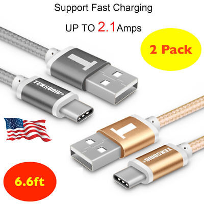 2X USB-C Type-C 3.1 6.6 Ft Nylon Braided Data Sync Charger Charging Cable Cord