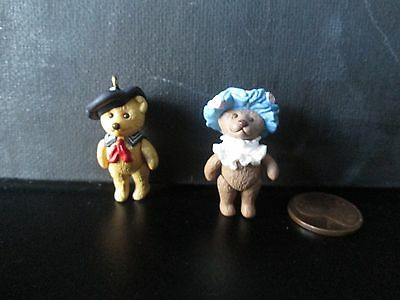 Hallmark Teddy Bear Style Miniature Ornaments-1999 & 2000-3rd and 4th in series