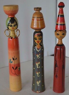 Vintage Asian Chinese Wood Doll Lot of 3 Lot 1