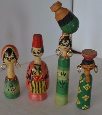 Vintage Asian Chinese Wood Doll Lot of 4 Lot 3