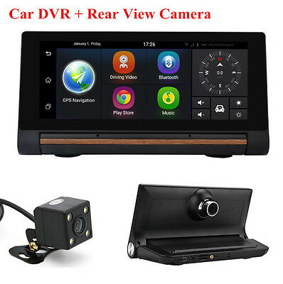 "7""Touch Screen Car DVR GPS Navigation + Rear View Camera Video Recorder Dash Cam"