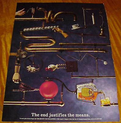 """1989 Crown Royal Liquor 1 Page Ad """"The End Justifies the Means"""" #093016"""