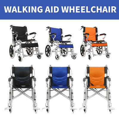 Solid wheel Folding Wheelchair 16 inch Manual Mobility Aid Brakes Light Weight