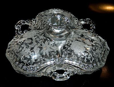 Cambridge Glass WILDFLOWER #3500/57 3 Part COVERED CANDY Dish, '35-'57, NR!