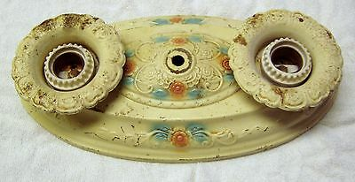 Vintage 1920s 1930s Art Deco Ceiling Light Fixture Cream with Pink and Blue