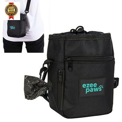 Ezee Paws Dog Walk and Treat Bag With Built-in Waste Poo Bags Dispenser NEW
