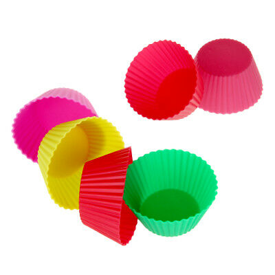 HOT SALE 12pcs Reusable Silicone Cake Mold Baking Cups For Ice Cake Random Color