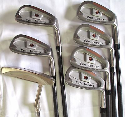 Spalding Pro Impact Bi-Metal 3-5 7 8 PW Iron Set Med Firm Flex Graphite Shafts