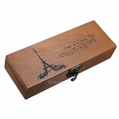 Retro Eiffel Tower Pen Pencil Case Holder Stationery Storage Wooden Box