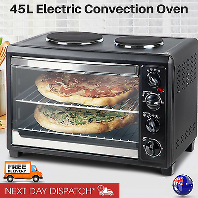 Portable Electric Convection Oven Large Table Rotisserie w/ Hot Plates Bench Top