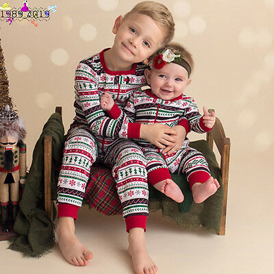 Newborn Infant Baby Boy Christmas Zipper Romper Jumpsuit Outfits Brother Clothes