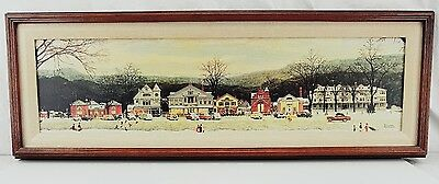 "Norman Rockwell MAIN STREET STOCKBRIDGE at CHRISTMAS Print on Canvas 31""x11"""