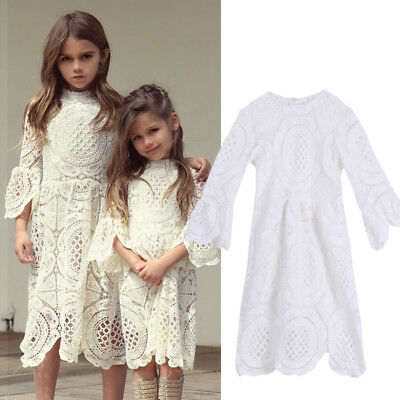 Toddler Baby Kids Girls White Lace Dress Wedding Pageant Princess Party Dresses