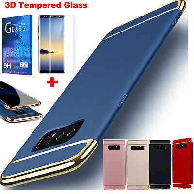 Samsung Galaxy S9 Note 8 Ultra Thin 360 Full Body Hard Case Cover Tempered Glass