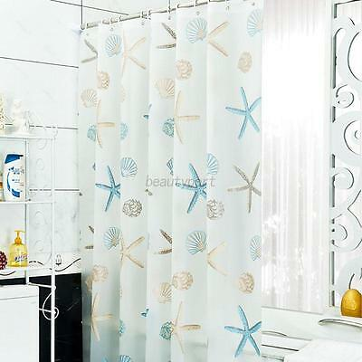 Modern Floral Pattern Image Waterproof Shower Curtain Shell Bathroom Bath Decor