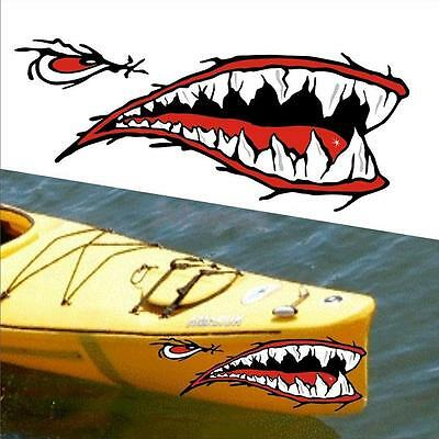 2pcs/set Shark Teeth Mouth Vinyl Decal Stickers for Kayak Canoe Dinghy Boat