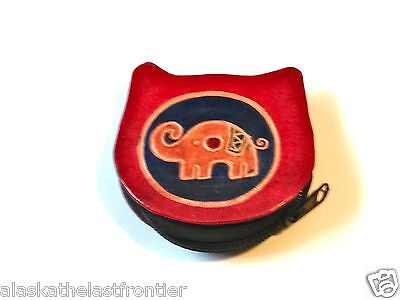 Hand Tooled Leather Coin Purse Shantiniketan India Elephant Design