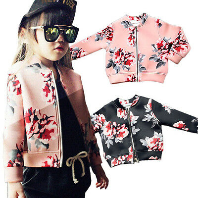 Baby Kids Girl Winter Floral Coat Long Sleeve Spring Baseball Jacket Clothes