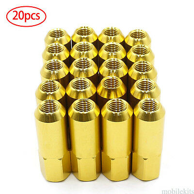 60mm Gold 20PCS M12X1.5 Cap Spiked Extended Tuner Aluminum Wheels Rims Lug Nuts